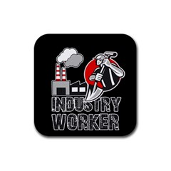 Industry Worker  Rubber Coaster (square)  by Valentinaart