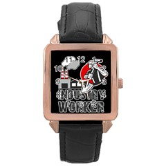 Industry Worker  Rose Gold Leather Watch  by Valentinaart