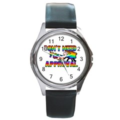 Dont Need Your Approval Round Metal Watch by Valentinaart