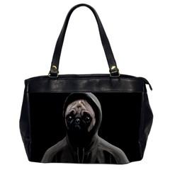 Gangsta Pug Office Handbags (2 Sides)  by Valentinaart