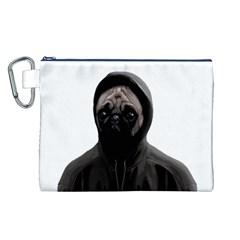 Gangsta Pug Canvas Cosmetic Bag (l) by Valentinaart