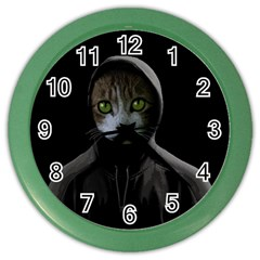 Gangsta Cat Color Wall Clocks by Valentinaart