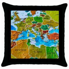 World Map Throw Pillow Case (black) by BangZart