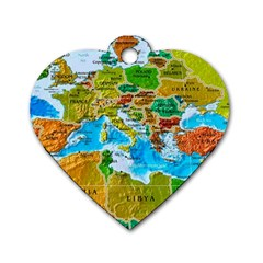 World Map Dog Tag Heart (two Sides) by BangZart