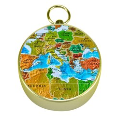 World Map Gold Compasses by BangZart