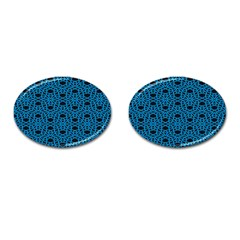 Triangle Knot Blue And Black Fabric Cufflinks (oval) by BangZart