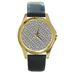 Grey Diamond Metal Texture Round Gold Metal Watch by BangZart