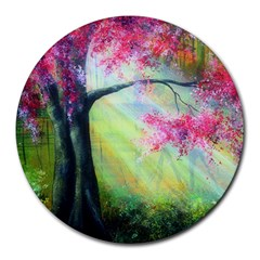 Forests Stunning Glimmer Paintings Sunlight Blooms Plants Love Seasons Traditional Art Flowers Sunsh Round Mousepads by BangZart