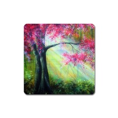 Forests Stunning Glimmer Paintings Sunlight Blooms Plants Love Seasons Traditional Art Flowers Sunsh Square Magnet by BangZart