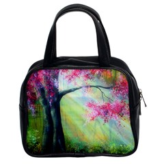Forests Stunning Glimmer Paintings Sunlight Blooms Plants Love Seasons Traditional Art Flowers Sunsh Classic Handbags (2 Sides) by BangZart