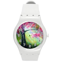 Forests Stunning Glimmer Paintings Sunlight Blooms Plants Love Seasons Traditional Art Flowers Sunsh Round Plastic Sport Watch (m) by BangZart