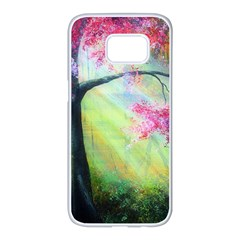 Forests Stunning Glimmer Paintings Sunlight Blooms Plants Love Seasons Traditional Art Flowers Sunsh Samsung Galaxy S7 Edge White Seamless Case by BangZart