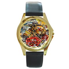 Flower Art Traditional Round Gold Metal Watch by BangZart