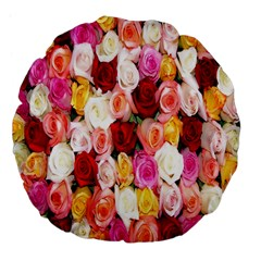 Rose Color Beautiful Flowers Large 18  Premium Flano Round Cushions by BangZart