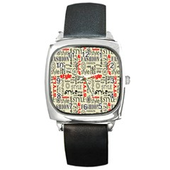 Backdrop Style With Texture And Typography Fashion Style Square Metal Watch by BangZart