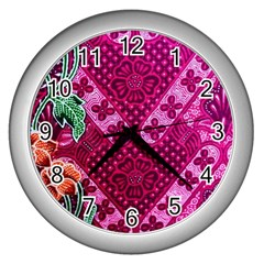 Pink Batik Cloth Fabric Wall Clocks (silver)  by BangZart