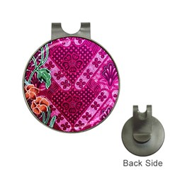 Pink Batik Cloth Fabric Hat Clips With Golf Markers