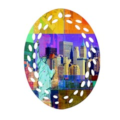 New York City The Statue Of Liberty Ornament (oval Filigree) by BangZart