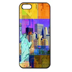 New York City The Statue Of Liberty Apple Iphone 5 Seamless Case (black) by BangZart