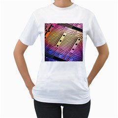Optics Electronics Machine Technology Circuit Electronic Computer Technics Detail Psychedelic Abstra Women s T Shirt (white) (two Sided) by BangZart