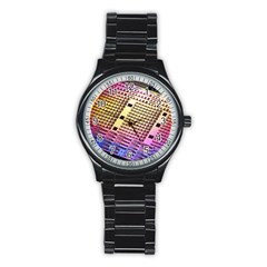 Optics Electronics Machine Technology Circuit Electronic Computer Technics Detail Psychedelic Abstra Stainless Steel Round Watch by BangZart