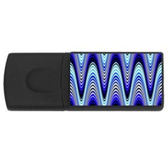 Waves Blue Rectangular Usb Flash Drive by Colorfulart23