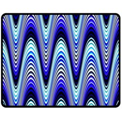 Waves Blue Double Sided Fleece Blanket (medium)  by Colorfulart23
