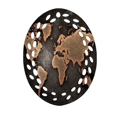 Grunge Map Of Earth Oval Filigree Ornament (two Sides) by BangZart