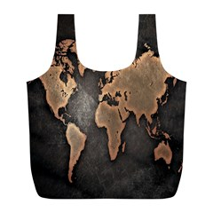 Grunge Map Of Earth Full Print Recycle Bags (l)  by BangZart