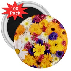 Colorful Flowers Pattern 3  Magnets (100 Pack) by BangZart