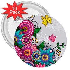 Flowers Pattern Vector Art 3  Buttons (10 Pack)  by BangZart
