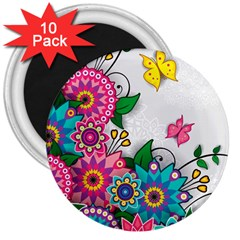 Flowers Pattern Vector Art 3  Magnets (10 Pack)  by BangZart