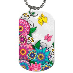 Flowers Pattern Vector Art Dog Tag (one Side)