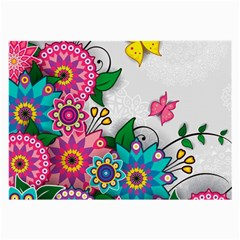 Flowers Pattern Vector Art Large Glasses Cloth (2 Side) by BangZart
