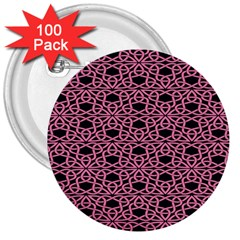 Triangle Knot Pink And Black Fabric 3  Buttons (100 Pack)