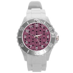 Triangle Knot Pink And Black Fabric Round Plastic Sport Watch (l) by BangZart