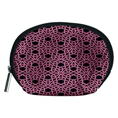 Triangle Knot Pink And Black Fabric Accessory Pouches (medium)  by BangZart