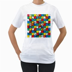Snakes And Ladders Women s T Shirt (white) (two Sided) by BangZart