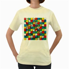 Snakes And Ladders Women s Yellow T Shirt by BangZart