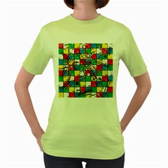 Snakes And Ladders Women s Green T Shirt by BangZart