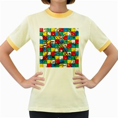 Snakes And Ladders Women s Fitted Ringer T Shirts by BangZart