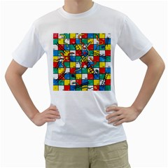 Snakes And Ladders Men s T Shirt (white) (two Sided) by BangZart