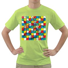 Snakes And Ladders Green T Shirt by BangZart