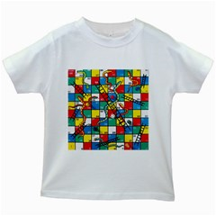 Snakes And Ladders Kids White T Shirts by BangZart