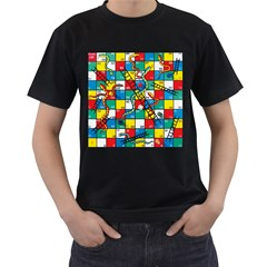 Snakes And Ladders Men s T Shirt (black) (two Sided) by BangZart