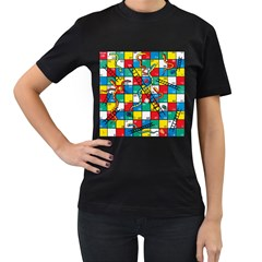 Snakes And Ladders Women s T Shirt (black) (two Sided) by BangZart