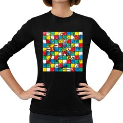 Snakes And Ladders Women s Long Sleeve Dark T Shirts by BangZart