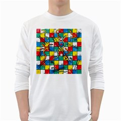 Snakes And Ladders White Long Sleeve T Shirts by BangZart