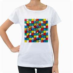 Snakes And Ladders Women s Loose Fit T Shirt (white) by BangZart