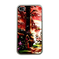 Fantasy Art Story Lodge Girl Rabbits Flowers Apple Iphone 4 Case (clear) by BangZart
